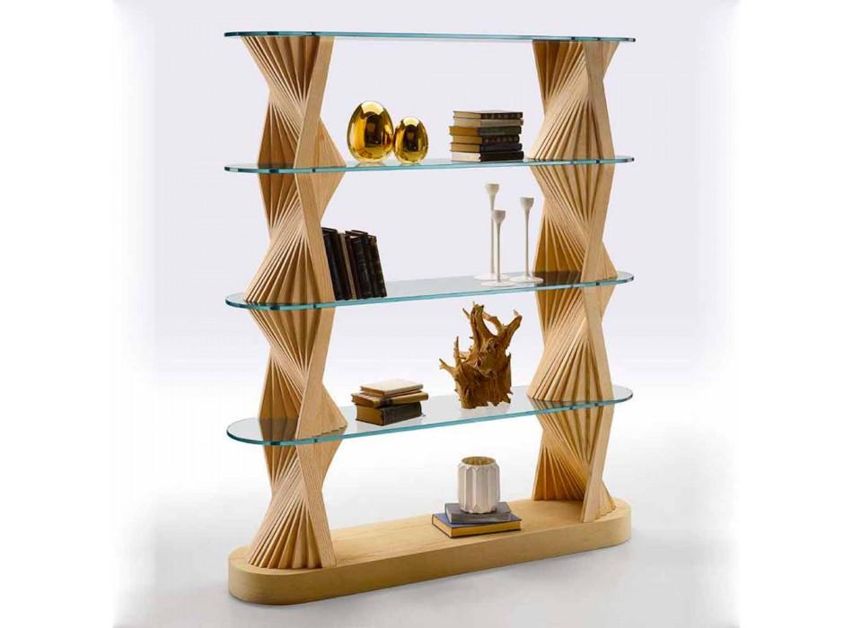 Bibliothèque de sol design en verre et bois de frêne Made in Italy - Aspide