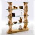Bibliothèque de sol de luxe en verre et bois de frêne Made in Italy - Aspide