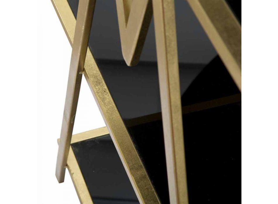 Bibliothèque de sol design moderne en fer MDF et verre - Margot