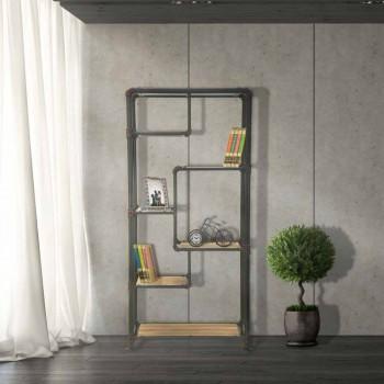 Bibliothèque de sol design moderne en MDF et métal - Merve
