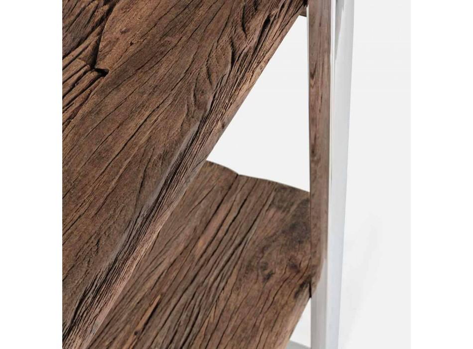 Bibliothèque de plancher moderne Homemotion en acier chromé et bois - Lisotta