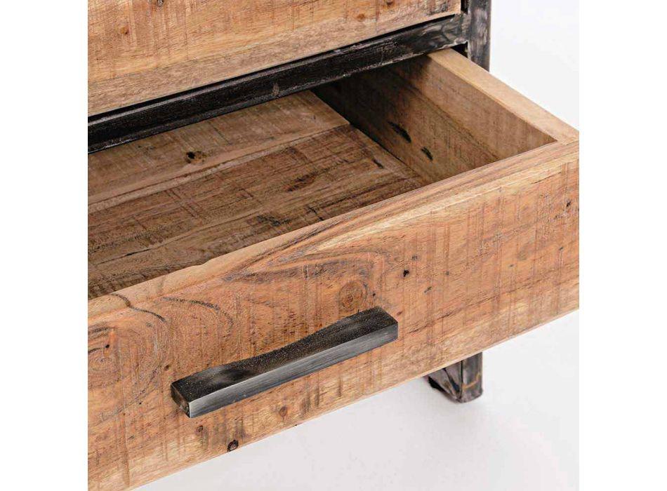 Bibliothèque de sol Homemotion en acier peint avec étagères en bois - Zompo