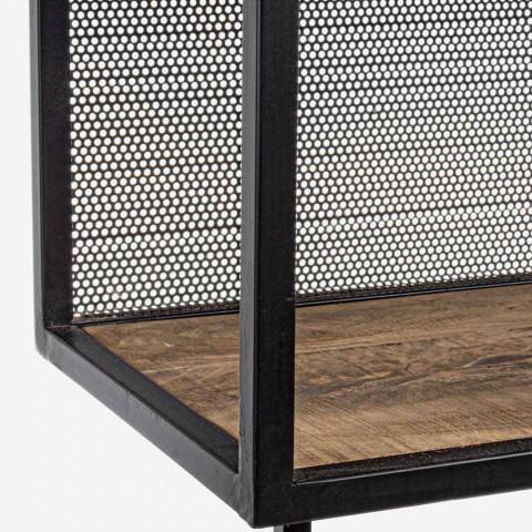 Bibliothèque de sol Homemotion en acier peint avec étagères en bois - Borino