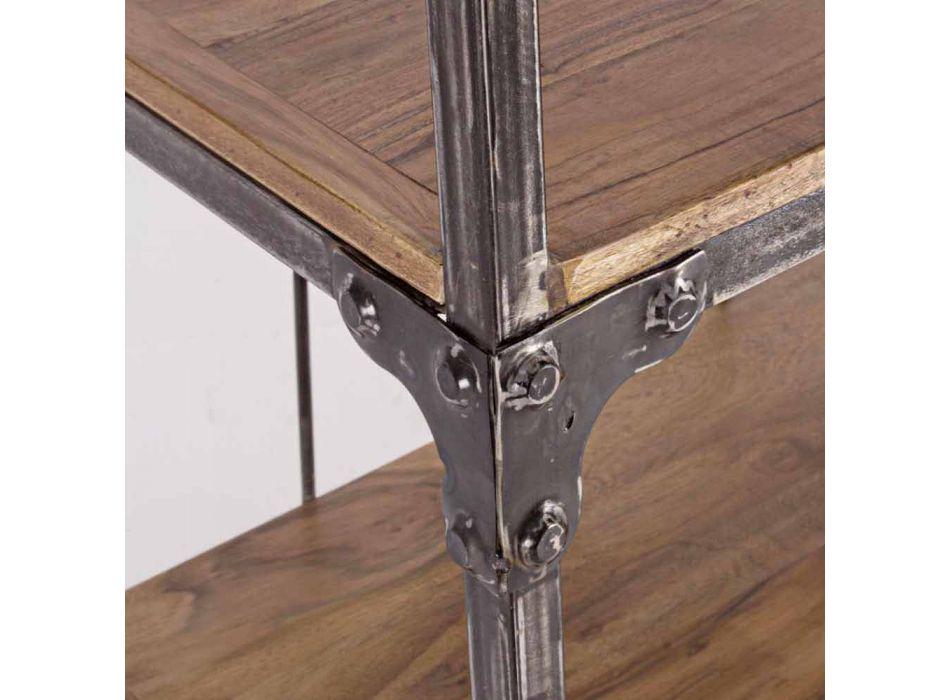 Bibliothèque de sol Homemotion en acier peint avec étagères en bois - Molina