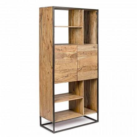 Homemotion - Bibliothèque de plancher Goliath en bois d'acacia et acier peint
