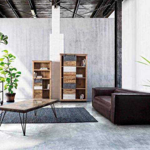 Bibliothèque de sol Homemotion en manguier avec inserts en acier - Vidia