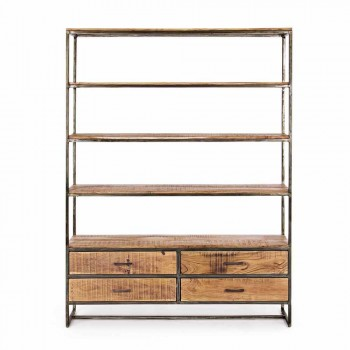 Bibliothèque de plancher de style industriel en acier et bois Homemotion - Zompo