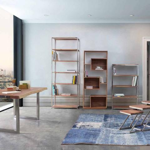 Bibliothèque de plancher moderne Homemotion avec structure en bois d'acacia - Genza