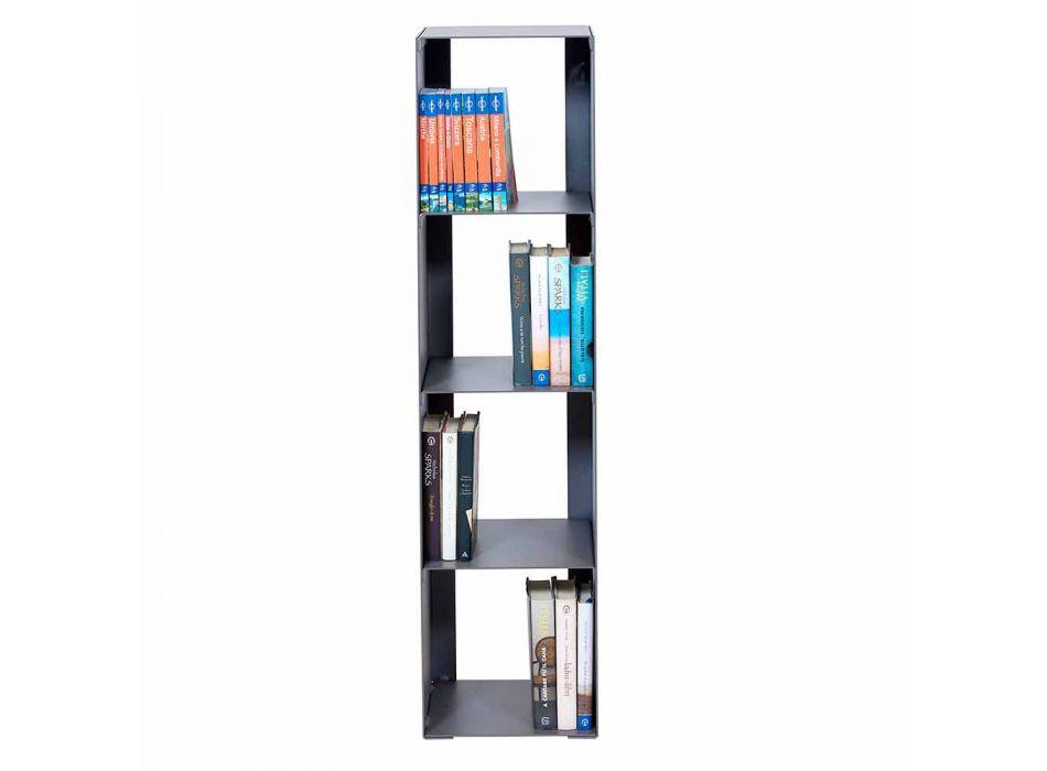 Bibliothèque de plancher moderne en fer noir, rouge, blanc ou gris fabriqué en Italie - Pls