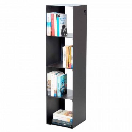 Bibliothèque moderne de sol en fer noir, rouge, blanc, gris fabriqué en Italie - Cauro