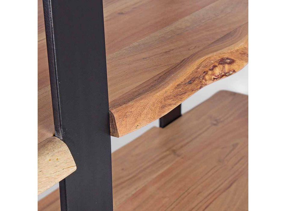 Bibliothèque de plancher en acier moderne avec étagères en bois Homemotion - Lanza