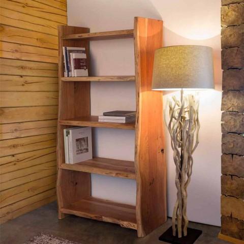 Bibliothèque de plancher moderne en bois d'acacia avec 5 étagères Homemotion - Lauro