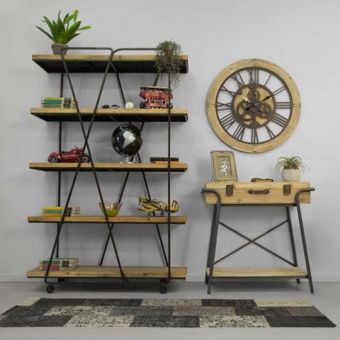 Bibliothèque sur pied industrielle moderne et bois - Soline