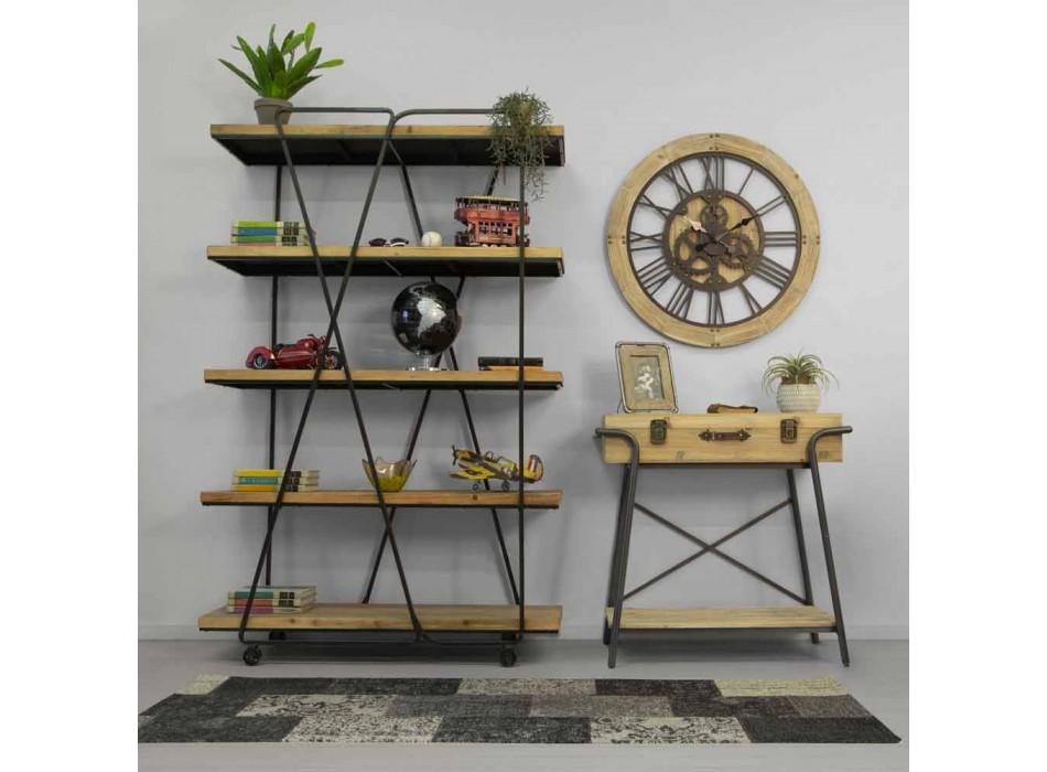 Bibliothèque de plancher de style industriel moderne en bois et fer - Soline
