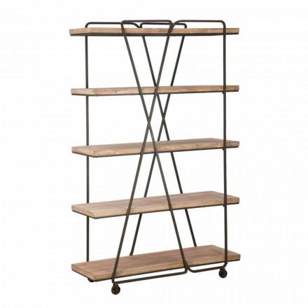 Bibliothèque de plancher de style industriel en bois et fer - Soline