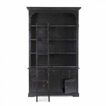 Bibliothèque en bois de design classique avec échelle décorative Homemotion - Cèdre