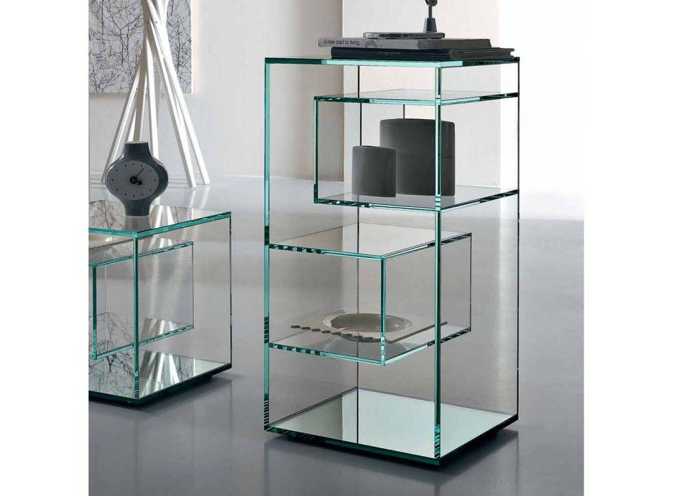 Bibliothèque de salon basse autoportante en verre extra-clair - Linzy