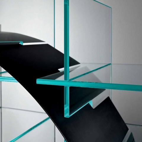 Bibliothèque circulaire autoportante en verre extraclair et noir brossé - Marco