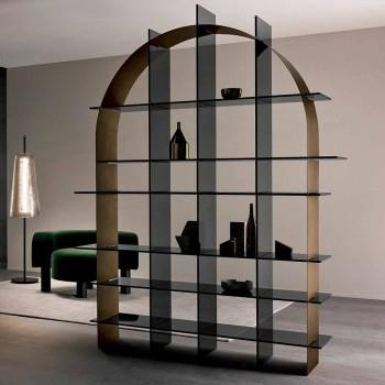 Bibliothèque arquée autoportante en verre fumé et design bronze brossé - Marco