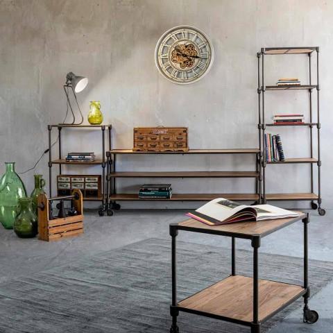 Bibliothèque en acier peint avec roulettes et étagères en teck Homemotion - Fulvia