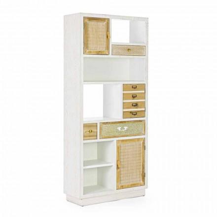 Bibliothèque de plancher de style rustique avec structure en MDF Homemotion - Moiora
