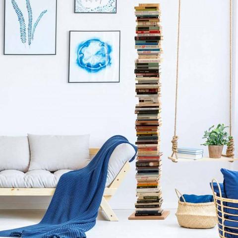 Bibliothèque moderne à colonnes en bois de hêtre Zia Ortensia fabriqué en Italie