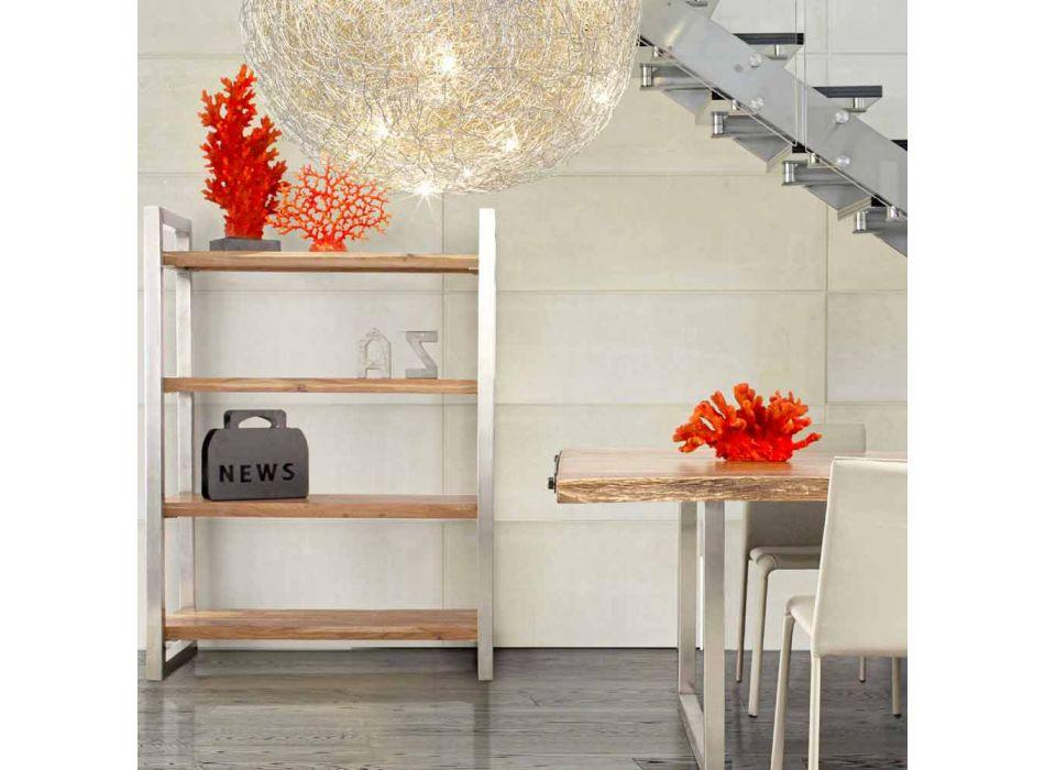 Bibliothèque moderne avec structure en acier chromé et bois Homemotion - Lisotta