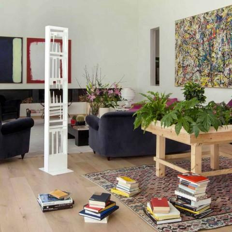 Bibliothèque de plancher moderne avec étagères en métal blanc Made in Italy - Bolivie