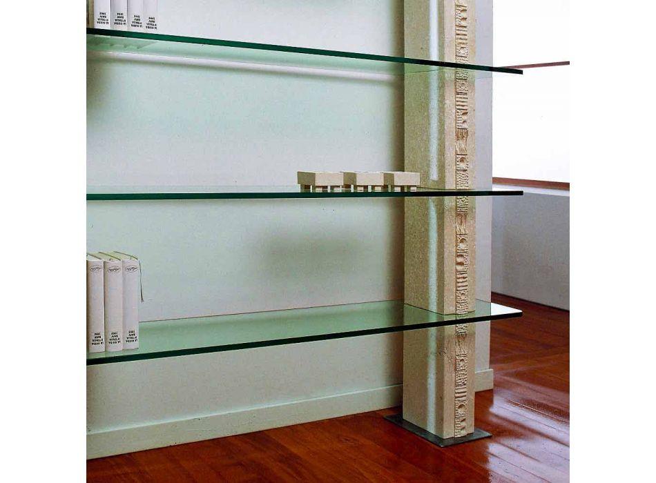 Bibliothèque modulaire en pierre et un design moderne en verre Galen