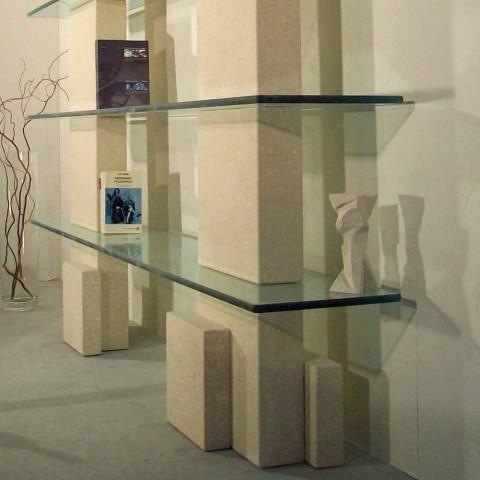 Bibliothèque modulaire design moderne pierre et le verre Poplia