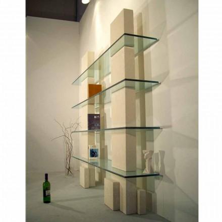 Bibliothèque modulaire en cristal et pierre de Vicenza Poplia
