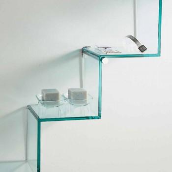 Bibliothèque pour objets sur le mur Design original en échelle de verre - Volano