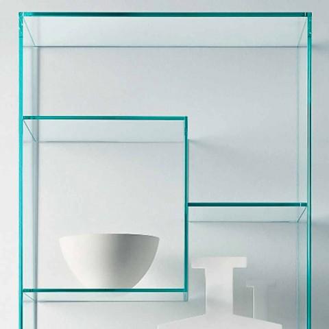 Bibliothèque de salon double en verre extra-clair avec ou sans tiroirs - Linzy