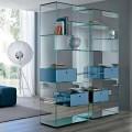 Bibliothèque de salon en verre extra-clair avec ou sans tiroirs Made in Italy - Linzy