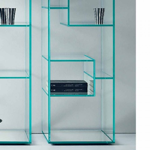 Bibliothèque simple colonne en verre extra-clair ou fumé pour salon - Linzy