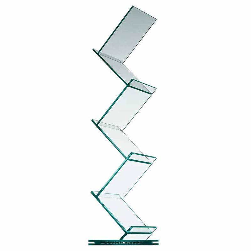Bibliothèque verticale en verre transparent pour salon sur pied - Brugo