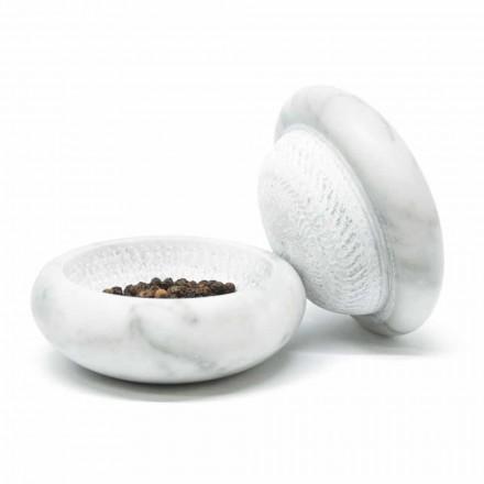 Moulin à poivre en marbre blanc de Carrare Satin Moderne Fabriqué en Italie - Faron