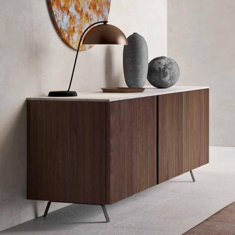 Buffet de salon 2 portes en bois écologique et plateau en marbre métal - Marron