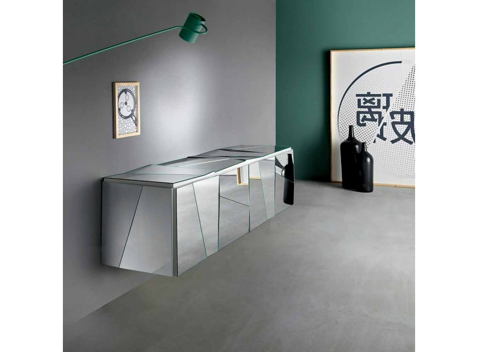 Buffet mural en bois blanc mat et verres miroirs - Senese