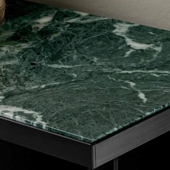 Buffet de salon en verre fumé et marbre vert du Guatemala - Leonarda