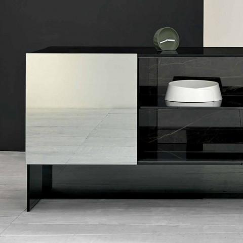 Buffet Design 2 Portes en Verre Fumé Fabriqué en Italie - Sciocca