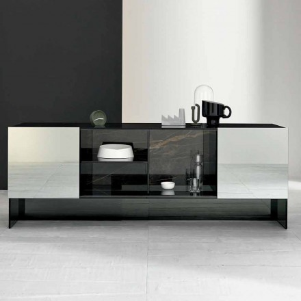 Buffet d'entrée design avec 2 portes en verre fumé fabriqué en Italie - Scocca