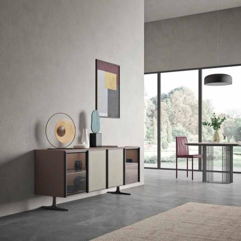 Buffet de salon en bois et verre écologique 4 portes Made in Italy - Aaron