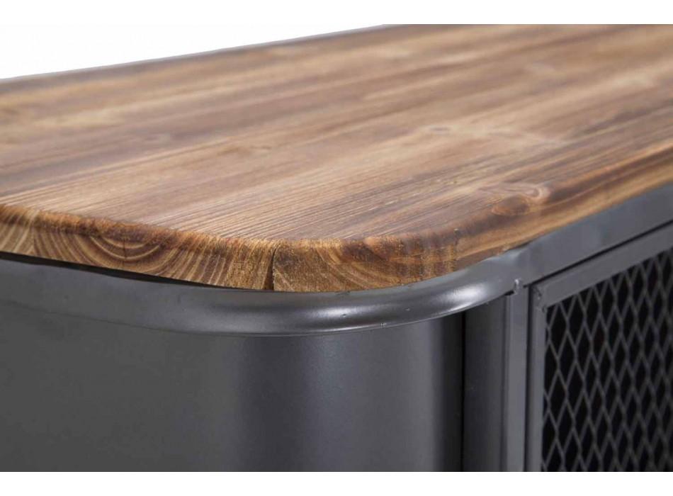 Buffet de salon de design industriel moderne en fer et bois - Akimi