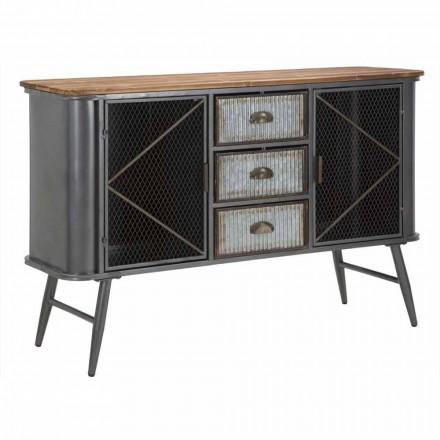 Buffet de salon design industriel vintage en fer et bois - Akimi