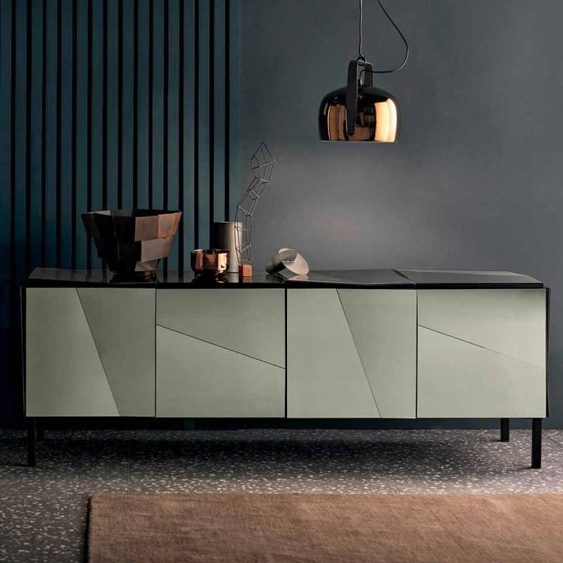 Buffet de salon mobile en bois noir mat avec miroirs et pieds fumés - Senese