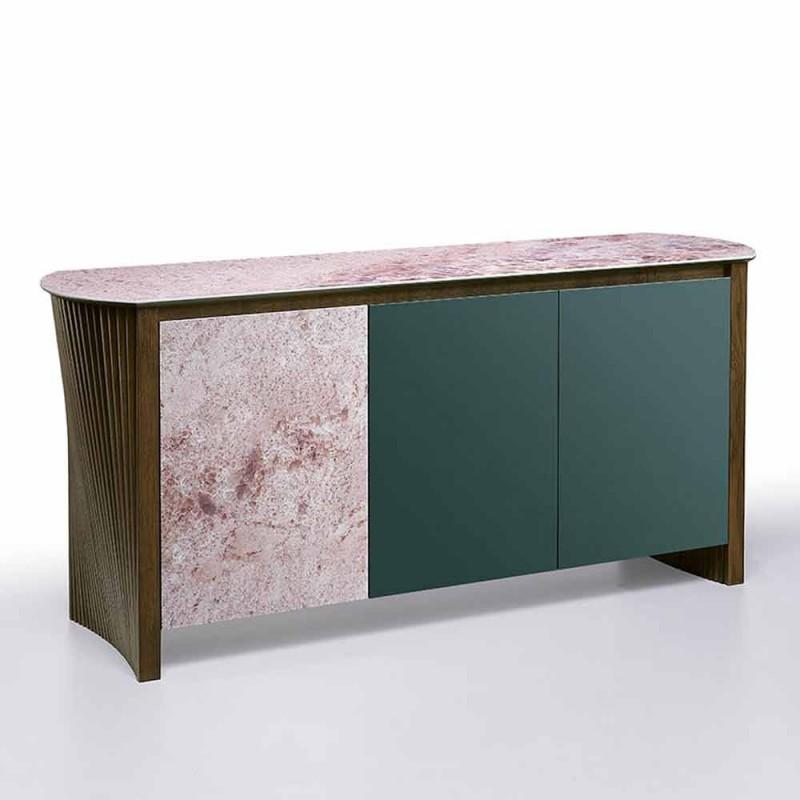 Buffet Design en Gres avec Structure en Bois et Mdf Made in Italy - Cunea