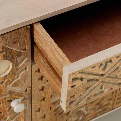 Buffet design ethnique en bois de manguier peint, Centola