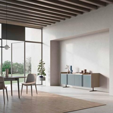 Buffet écologique en bois pour entrée ou salon avec 4 portes et base en métal - Eliseo