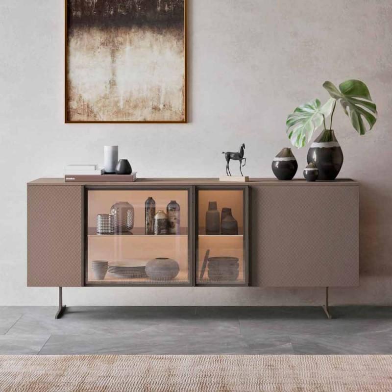 Buffet en Bois Écologique, Verre et Métal pour Salon Design 4 Portes - Bruno